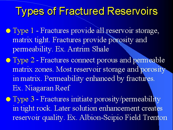 types of fractured reservoirs